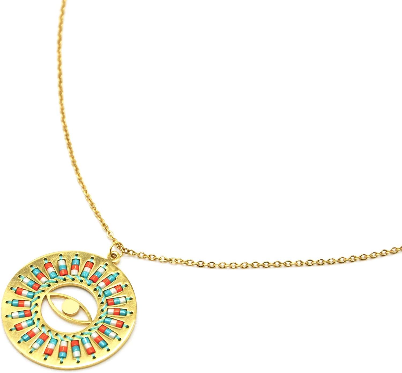 Oh My Shop CC2723E – Collar de Cadena Fina de Acero Dorado con Colgante de círculo de Ojo con Perlas de rocalla, Turquesa