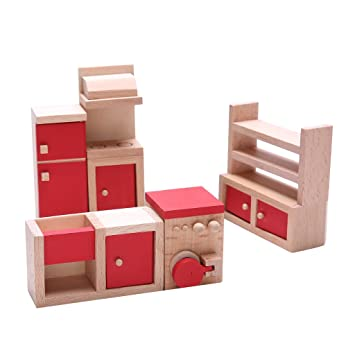 Buy Nf E Set Of 5 Pieces Red Dollhouse Miniature Kitchen Furniture