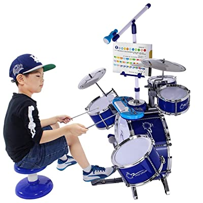 Mostbest Children Musical Instrument Jazz Drum Kit Set with Stool, Electronic Piano, Microphone Ideal Gift Toy for Kids, Teens, Boys & Girls: Toys & Games
