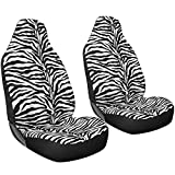 zebra stripe seat covers - Oxgord 2pc Set Zebra Animal Print / White, Black Auto Seat Covers Set - Airbag Compatible - Integrated High Back Buckets - Universal Fit for Car, Truck, Suv, or Van