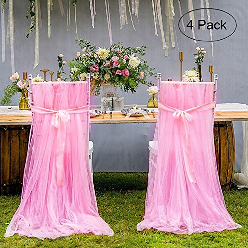 LGHome Tulle Chair Skirt for Bridal, Fluffy Tulle Chair Tutu Skirt Pink Chair Skirt Slipcovers for Outdoor Wedding/Baby Shower/Event - Pack of -