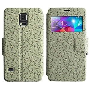 LEOCASE patrón de flores Funda Carcasa Cuero Tapa Case Para Samsung Galaxy S5 I9600 No.1002658