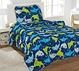 3Pc Blue Sharks Boys Sheet Microfiber Flate Fitted Pillow Case New Set