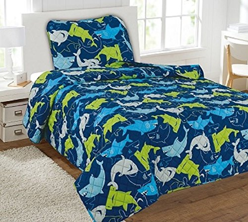 3Pc Blue Sharks Boys Sheet Microfiber Flate Fitted Pillow Case New Set by Bedding Set