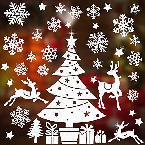 New Elk Christmas Window Glass Wall Sticker Cute New Year Christmas Decorations