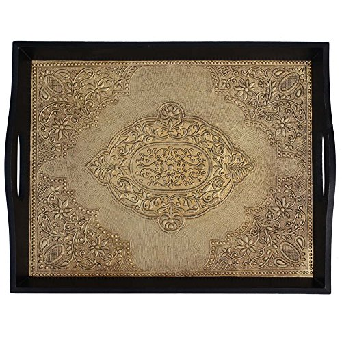 Benzara BM142063 Brass Decorated Wooden Tray, Black and Gold