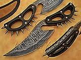 Handmade Damascus Steel Sanmai Hunting Cobra Night Slasher Knife For Sale