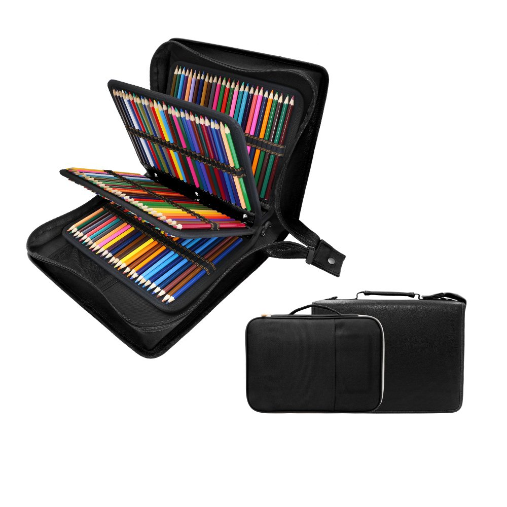 200 + 16 Slots Pencil Case & Extra Pencil Sleeve Holder - Bundle for Prismacolor Watercolor Pencils, Crayola Colored Pencils, Marco Pens and Cosmetic Brush by YOUSHARES (216 Slots Black) by YOUSHARES