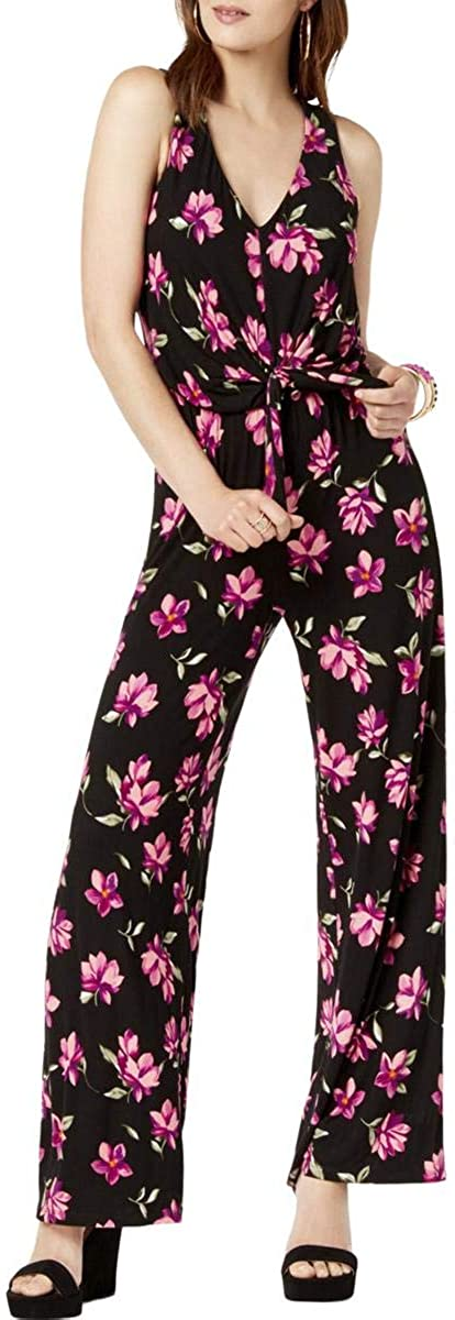 International Concepts Womens Petite Floral-Print Tie-Waist Jumpsuit I.N.C