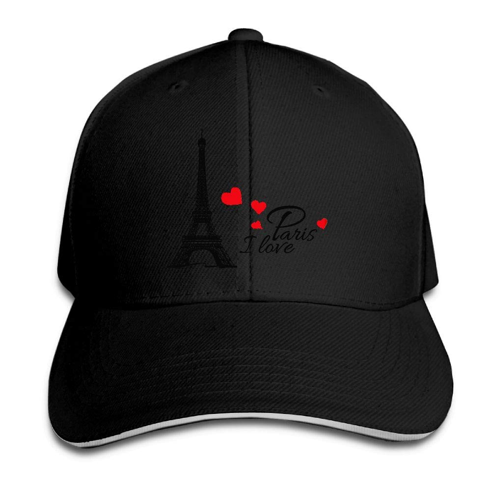 I Heart Paris Effel Tower Baseball Cap Polo Style Adjustable Cotton Baseball