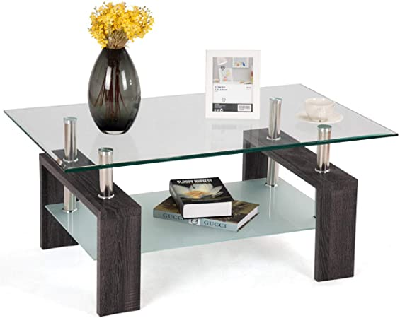 Tangkula Rectangle Glass Coffee Table, Clear Coffee Table with Lower Shelf  Wooden Legs, Center Tables for Living Room (Dark Brown)