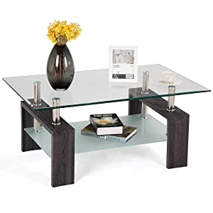 Tangkula Glass Coffee Table Modern Simple Style Rectangular Wood Legs End Side Table Living Room Home Furniture with Shelf(Dark Brown)