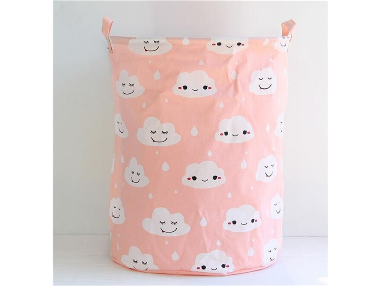 Gelaiken Lightweight Cloud Pattern Storage Bucket Paper Bag Sundries Storage Bucket(Pink)