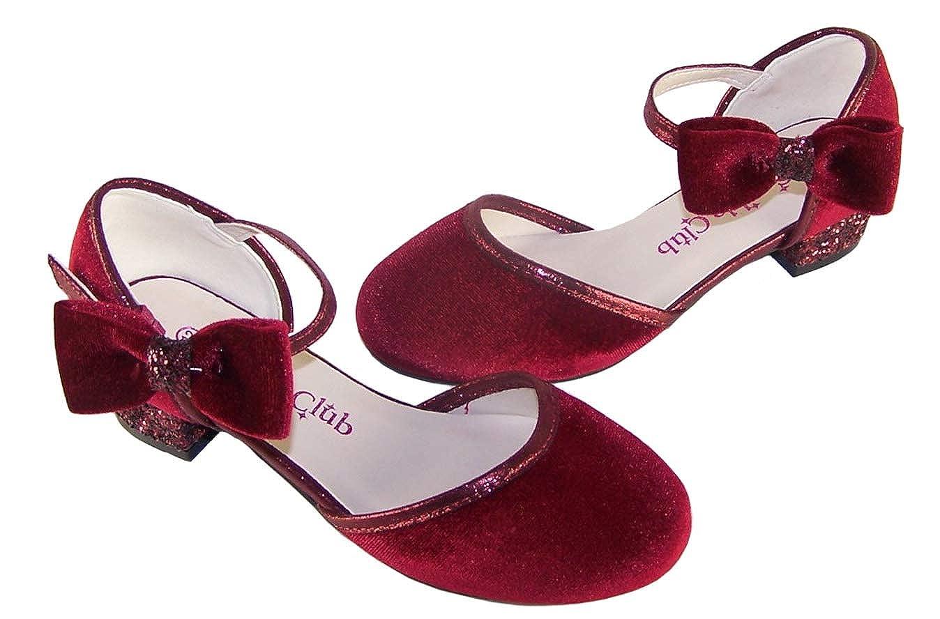 The Sparkle Club Zapatos de tac/ón bajo de Terciopelo Rojo Oscuro para Fiesta de Ocasiones Especiales