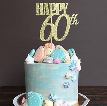 60 Birthday Cake Topper Handmade Happy 60th Sixty Decoration Amazonca Home Kitchen
