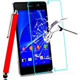 *** PACK *** FILM PROTECTION Ecran en VERRE Trempé pour SONY XPERIA M4 AQUA filtre protecteur d'écran INVISIBLE & INRAYABLE vitre INCASSABLE + STYLET ROUGE pour Smartphone Xpéria M 4 4G 16 go double dual sim