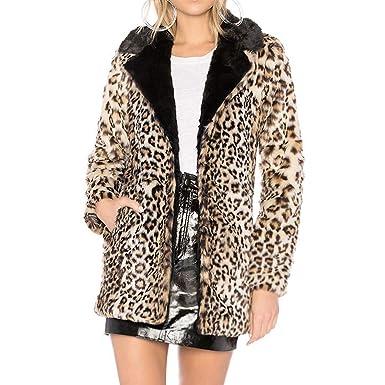 10aa29cb4fcf Plüsch Mantel Damen,Damen Plüschjacke Leopard-Druck-Warmer Winter-Pelz -Oberbekleidung