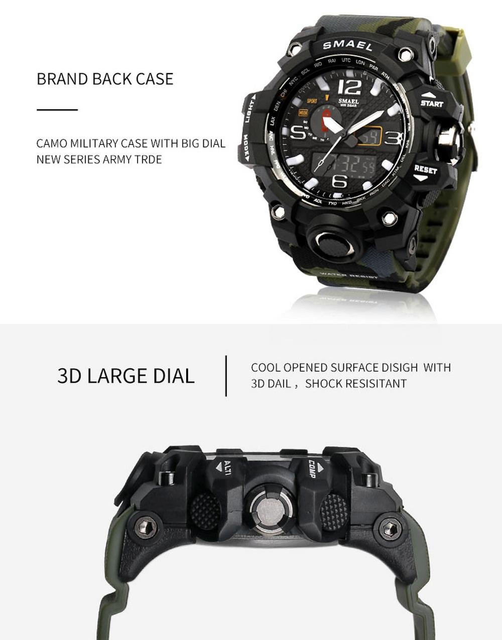 Amazon.com: IBANSE Mens Sports Analog Quartz Watch Dual Display Waterproof Digital Watches with LED Backlight relogio masculino El Movimiento de los ...