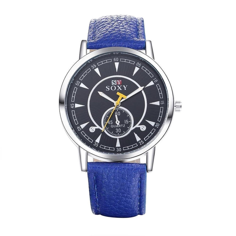 jiayihomeメンズPUレザーのストラップクオーツMovement withブラックダイヤル腕時計wh0011b B01G16OWKK