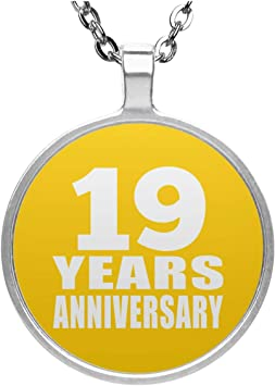 Anniversario 19 Anni Di Matrimonio.Designsify Collana Con Ciondolo A Forma Di Cerchio Per 19 Anni Di