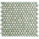 SomerTile FKOMPR32 Penny Porcelain Mosaic Floor & Wall Tile, 12'' x 12.25'', Mint Green,,, Green, Brown