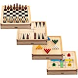Wooden 9-in-1 Chess, Checkers, Backgammon, Chinese Checkers, Tic-tac-Toe and Ludo, Dominoes, Playing Cards, Poker Dices…