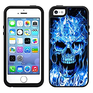 Skin Decal for OtterBox Symmetry Apple iPhone 5 Case - Blue Flaming Skull on Black