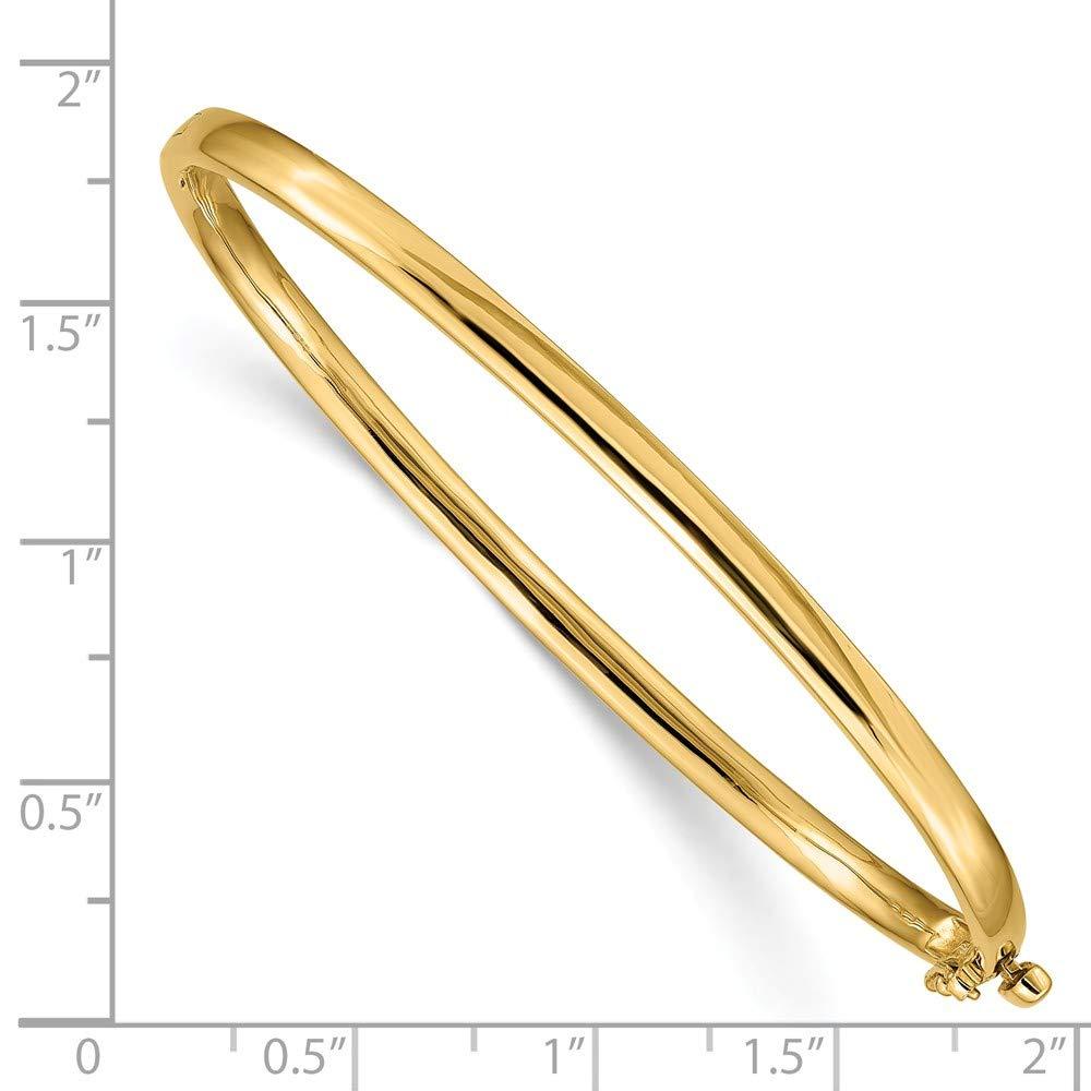 Mia Diamonds 14k Yellow Gold 3.6mm Polished Solid Hinged Bangle Bracelet Bracelet