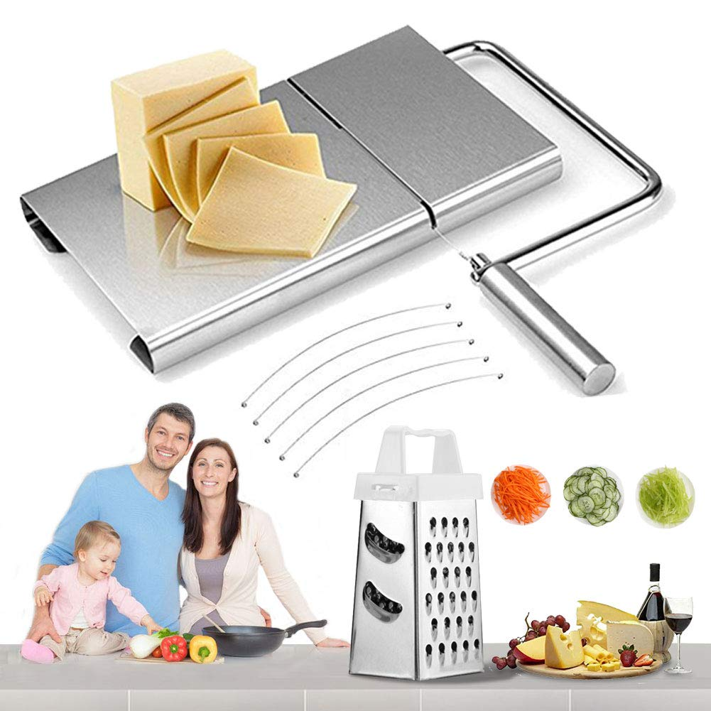 Cheese Slicer Board Wire Stainless Steel Cutter Serving for Hard and Semi Hard Cheese Butter Cake(Silver) by Jaklove