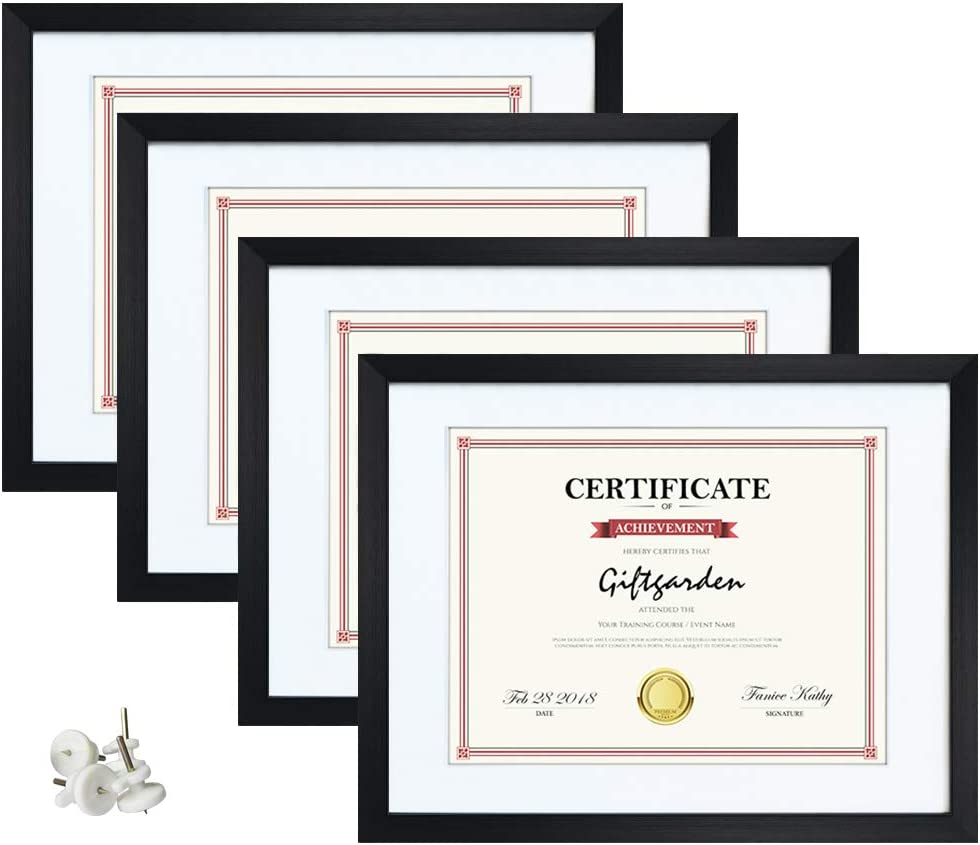 Giftgarden 8.5x11 Picture Frames with White Mats & Tempered Glass Fronts Set of 4, Diploma Certificate Frame for Wall Decor or Tabletop Display, Black