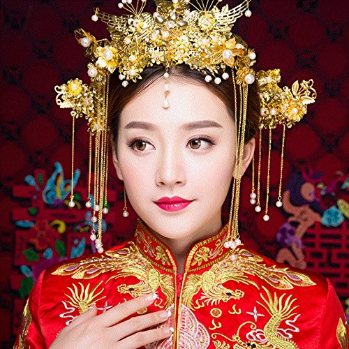 Generic Bridal headdress wedding dress Chinese wedding married toast cloth swan peacock crown tiara three-piece red hair accessories (Dresses Dress Chinese Chinese)