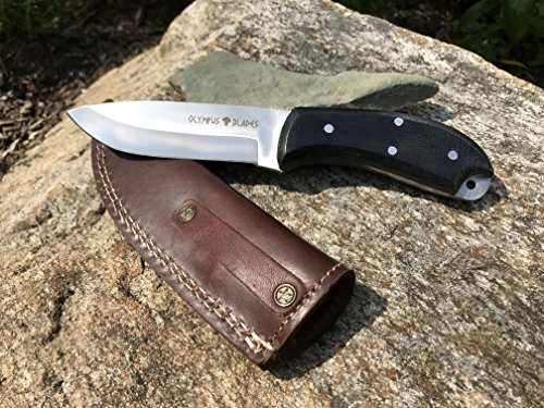 Micarta Leather Sheath (Hunting Knife - D2 Steel - Micarta Handle - Leather Sheath)