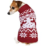 PETBABA Dog Christmas Jumper, Soft Stretch Pullover Keep Pet Warm in Winter Snow Cold Weather, Cable Knit Turtleneck with Reindeer Snowflake, Xmas Sweater Suitable Festival Holiday - XXL in Red