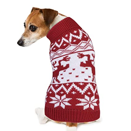 0c8b0ec9 PETBABA Dog Christmas Sweater, Soft Stretch Pullover Keep Pet Warm in  Winter Snow Cold Weather