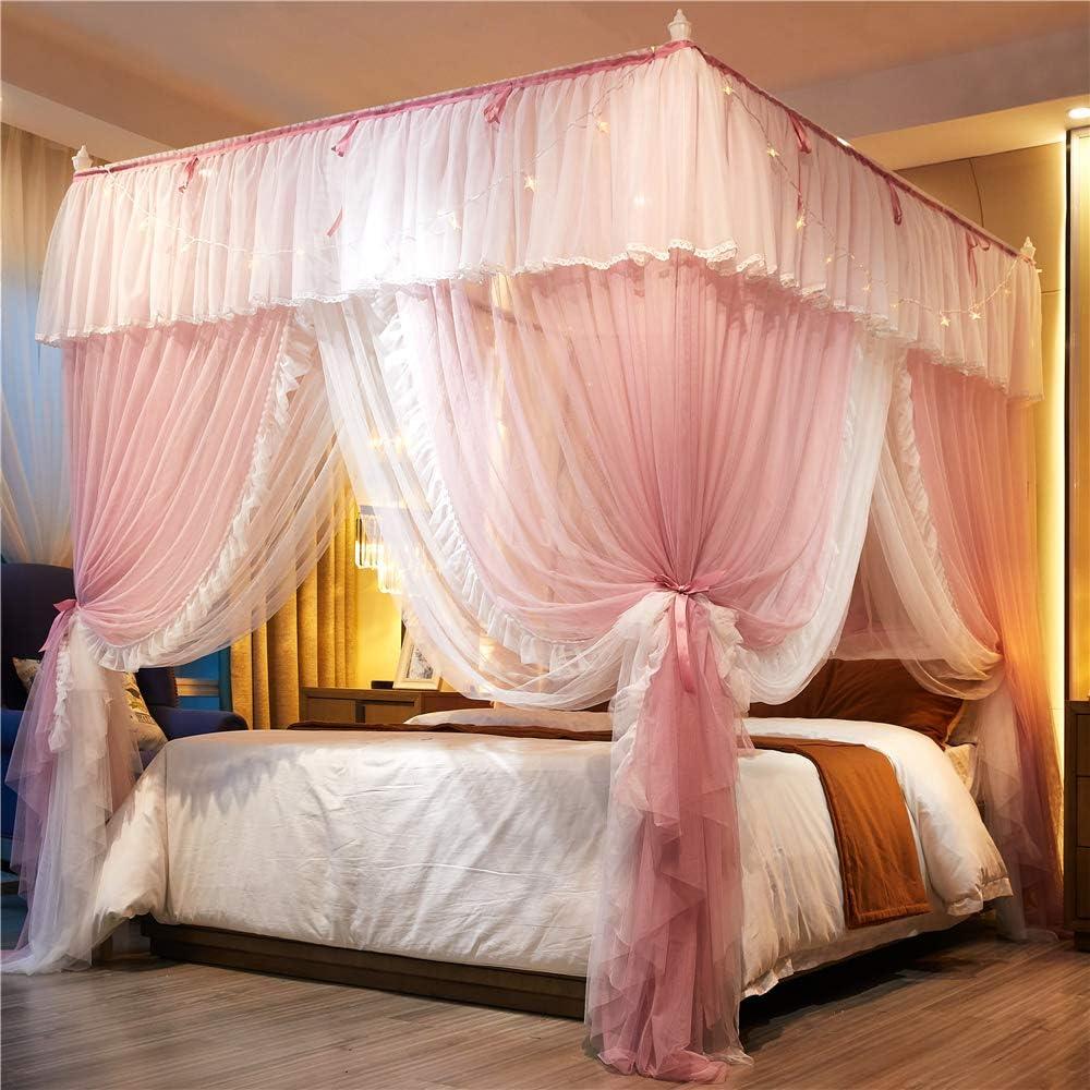 - Amazon.com: Lotus Karen Princess Pink&White Bed Curtain - 4