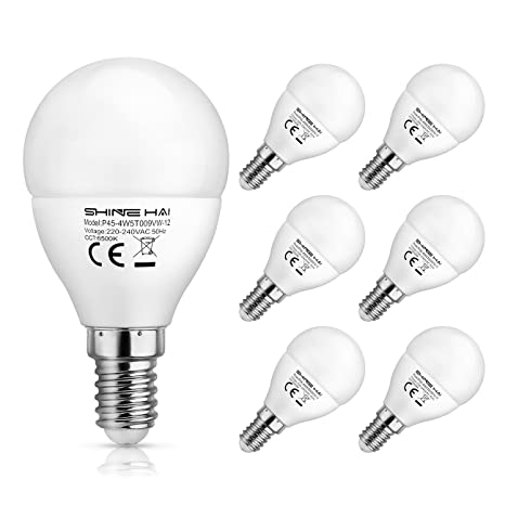SHINE HAI Bombillas LED P45 E14, Incandescente Equivalente a 40w, Blanco Frío 6500k 4.5