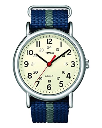 e3898bbbcab5 Timex Unisex T2N654 Weekender Blue Gray Stripe Nylon Slip-Thru Strap Watch