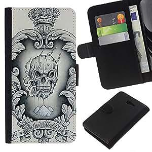 A-type (Skull Crown King Guirnalda del corazón de la vendimia) Colorida Impresión Funda Cuero Monedero Caja Bolsa Cubierta Caja Piel Card Slots Para Sony Xperia M2