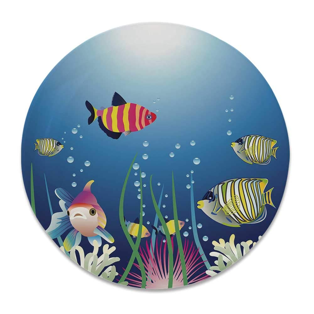 YOLIYANA Aquarium Novelty Decorative Plate,Aquarium Seascape with Colorful Tropical Fishes Bubbles Seaweed Marine Theme Decorative for livingroom,8 inch by YOLIYANA