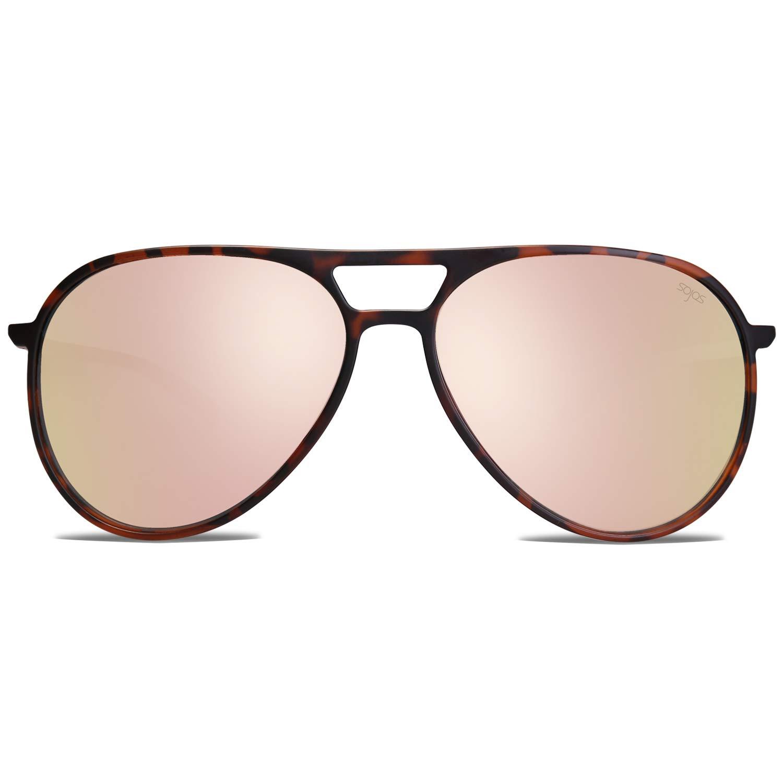 SOJOS Classic Polarized Ultra Lightweight Flexible Aviator Unisex Sunglasses JOURNEY SJ2065 with Matt Brown Demi Frame/Pink Mirrored Lens by SOJOS