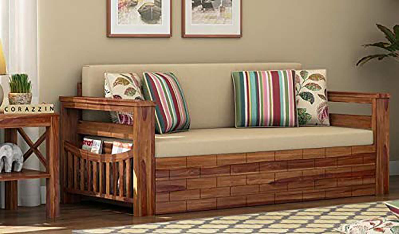 Ganpati Arts Sheesham Wood Single Size Sofa Cum Bed For Bedroom