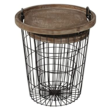 Kate and Laurel Tenby Nesting Metal and Wood Tray Accent End Tables, Black