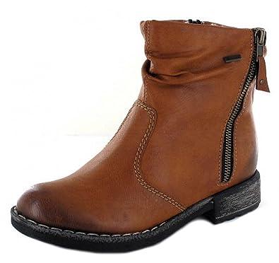 Rieker 74673 Damen Stiefel, Stiefelette, Schlupfstiefel, Boot, Slip on Boot, Lammwollfutter, Tex Membran