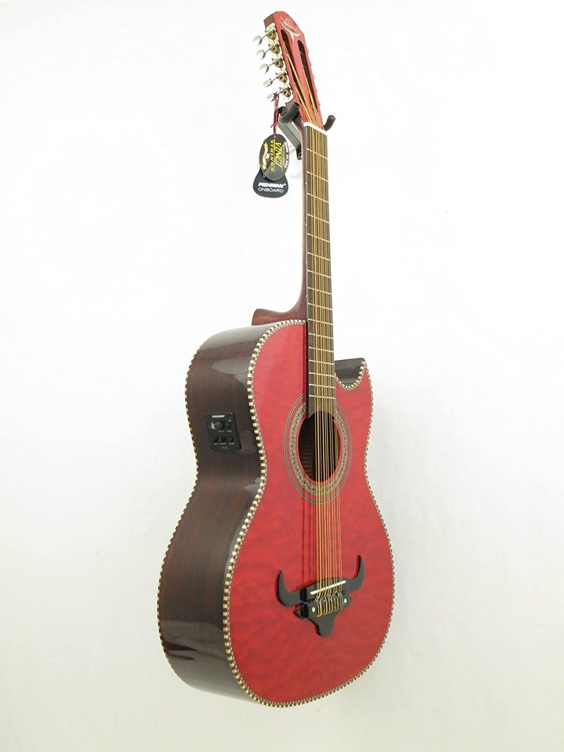 Oscar Schmidt OH32SEQTR Acoustic-Electric Bajo Quinto with Burled Maple Top and