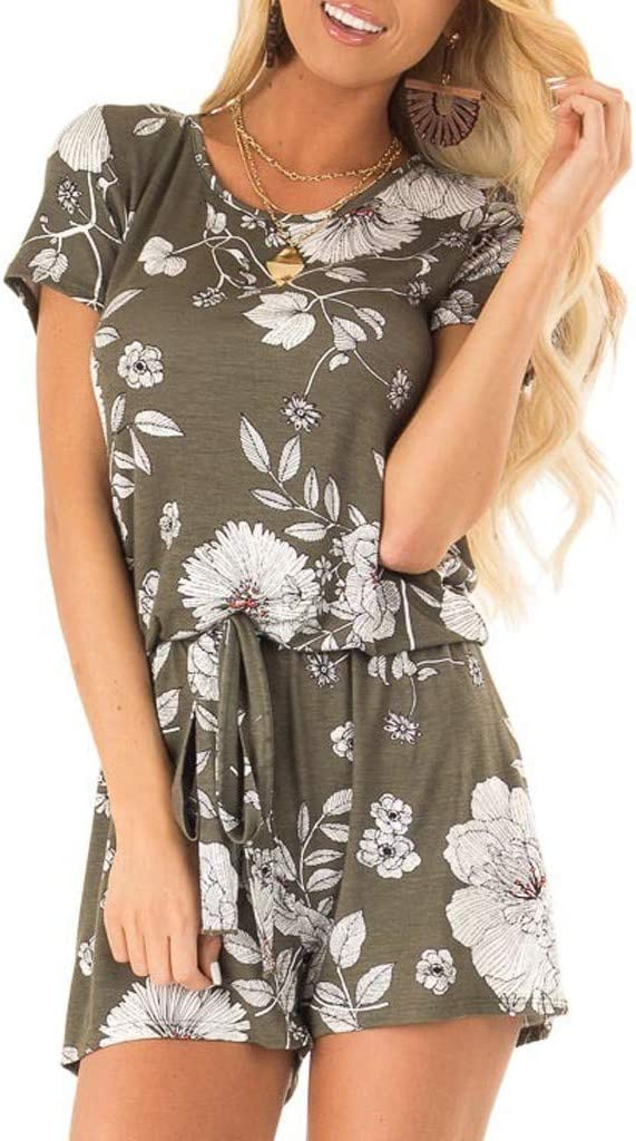 Women Short Jumpsuits and Rompers Floral Print Short Sleeve V Neck Knoted Overalls with Pockets Casual Summer Loose Rompers