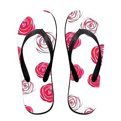 Men Women Romantic Roses Comfort Flat Flip Flops Sandals Beach Slipper
