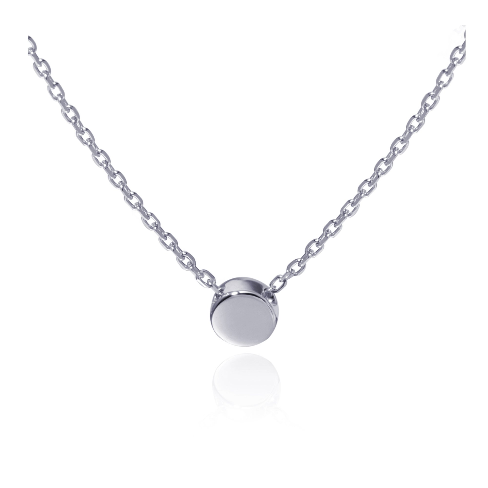 S.Leaf Minimalism Tiny Circle Necklace Sterling Silver Round Pendant Circle Necklace Collar Necklace (Silver)