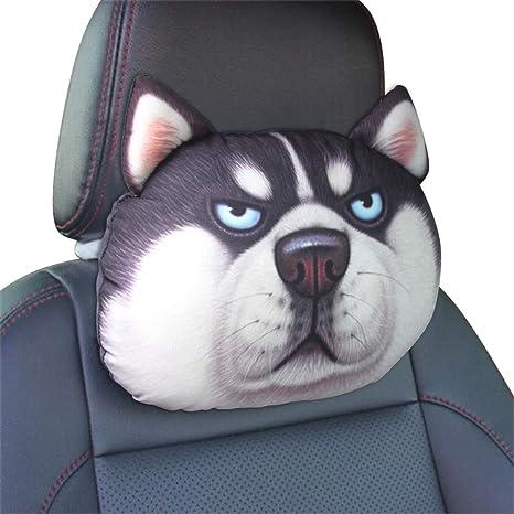 Ergocar Almohadas del Cuello del Coche linda de perro de dibujos animados Almohadas para el Reposacabezas