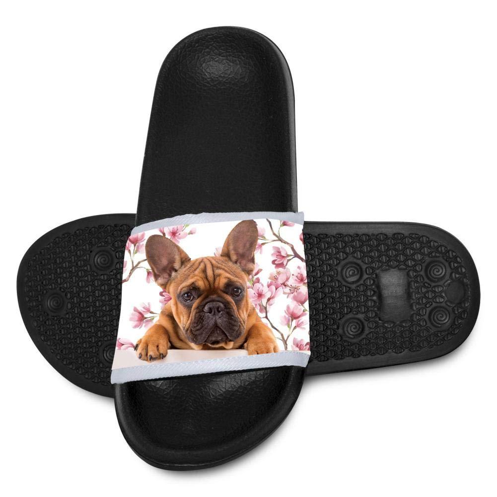 Qujki Kids French Bulldog Beach Sandal Non-Slip Bath Slipper Black