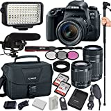 Canon EOS 77D 24.2 MP Digital SLR Camera with 18-55mm and 55-250mm Lenses, Filters, Lens Hood, Monopod, 128GB Memory, Led Video Light, Microphone, Canon Case, Extra Charger